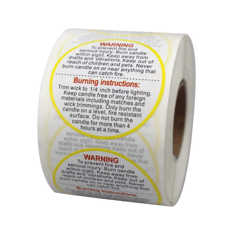 custom warnigng label sticker for candle making supplies (2)