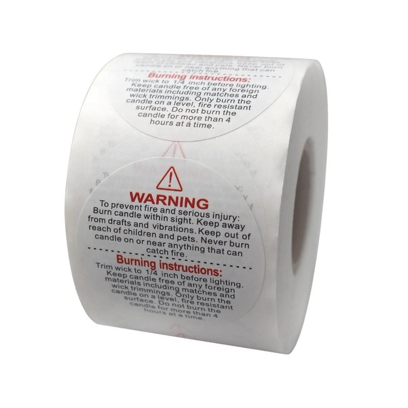 custom warnigng label sticker for candle making supplies